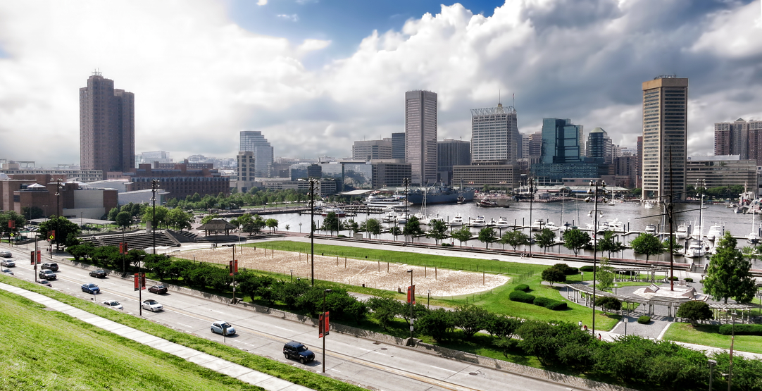 photodune-3917337-baltimore-maryland-inner-harbor-skyline-and-park-s